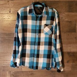 Burnside XL blue plaid button up shirt